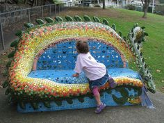 Mosaic Dragon Bench this would be cute in Hawthorne
