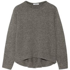 Helmut Lang Cutout wool-blend sweater (£145) ❤ liked on Polyvore featuring tops, sweaters, shirts, jumpers, grey shirt, draped tops, grey jumper, wool-blend sweater and cutout tops