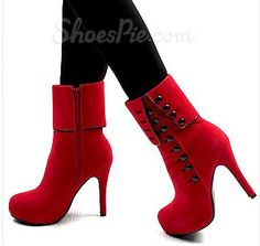 Red Platform Heels Side Open With Button Ankle Boots