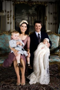 The Crown Prince & Princess of Denmark with Prince Christian at the christening of Princess Isabella, July 2007