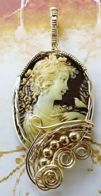 Sold ~R730 Anastasia Cameo Pendant 14k Rolled Gold Brown Fine Jewelry