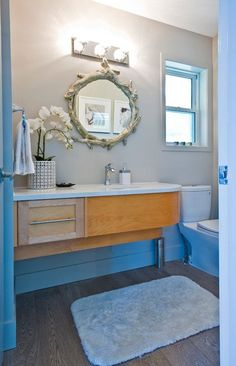 Powder room is a part from the bathroom and usually it is small place with a suitable vanity and bathroom sink with mirror. You can decorate your powder ro