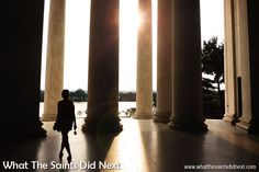 The colonnaded style of architecture was introduced to the country by Thomas Jefferson. The design by Architect, Russell Pope, is therefore a tribute to the third president's own architectural tastes. The Jefferson Memorial, Washington DC.