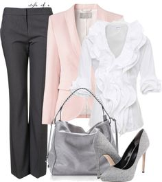 """Pink and Gray"" by styleofe on Polyvore"