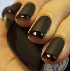 black french manicure matte