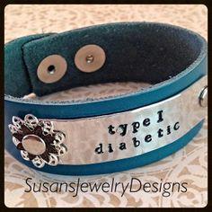 leather medical bracelet T1D