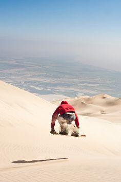 Sandboarding on Cerro Toro Mata. Acari, Department of Arequipa, Peru...