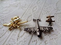 3 Airplane Jet Aircraft Brooches Propeller Onyx Set Brass Jet Tie Pin
