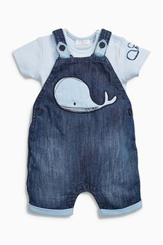 Buy Denim Whale Crop Dungarees With Short Sleeved Bodysuit from the Next UK online shop Baby Outfits, Kids Outfits, Baby Boy Fashion, Kids Fashion, Baby Boy Dress, Denim Dungarees, Dungarees Outfits, Cute Baby Clothes, Guy Clothes