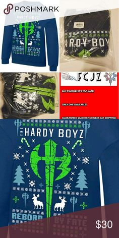 """The Hardy Boyz """"Reborn by Fate"""" Holiday Sweater S NEW IN BAG,NEVER TOUCHED,NEVER DISPLAYED  The Hardy Boyz """"Reborn by Fate"""" Ugly Holiday Sweatshirt NIB SMALL   PRODUCT FEATURES  Crewneck  Soft construction  V-Notch Detailing at neck  Long sleeves  Professionally screen printed to have a knitted look WWE Shirts Sweatshirts & Hoodies"""