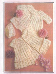 CROCHET PATTERN Heirloom Baby/Infant Shell Sweater Set Sz 3-6mths   eBay