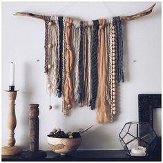 Yarn Wall Art, Diy Wall Art, Wall Art Boho, Stick Wall Art, Mural Wall Art, Fabric Wall Art, Boho Diy, Boho Decor, Cheap Home Decor