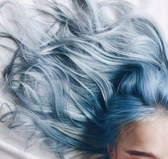 When blue tones are perfectly muted with silver grey. The hair color looks almost pastel blue.