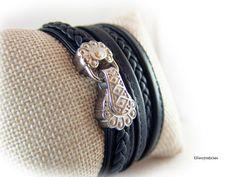 Wickelarmband Lederarmband Damen schwarz von elfenstuebchen auf Etsy