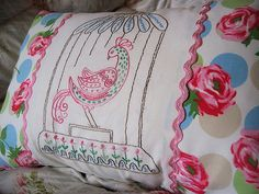 vintage pillow ideas | Groovy Bird Embroidered Pillow 2