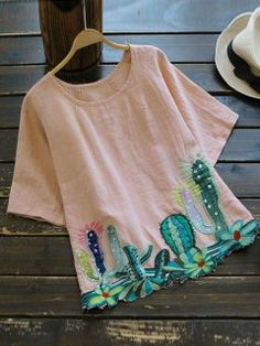 Round Collar Cacti Embroidered Blouse - Pink