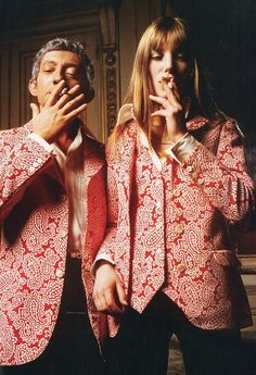 Jane Birkin and Serge Gainsbourg in matching jackets (1969).