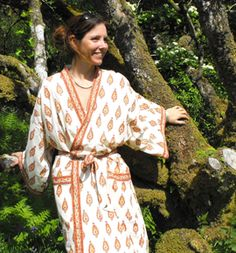 Hand block printed kimono dressing gowns by Anokhi for Chandni Chowk - accacia