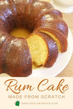 This rum cake is made completely from scratch It s moist buttery and decadent Rum is baked into the cake and then drizzled on top of the cake rumcake cake caribbeanfood dessert caribbeandesserts Spice Cake Recipes, Pound Cake Recipes, Banana Bread Recipes, Easy Cake Recipes, Baking Recipes, Best Rum Cake Recipe, Rum Cake Recipe From Scratch, Rum Cake Glaze Recipe, Jamaican Rum Cake