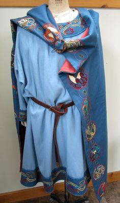 Another idea for Josiah, its so pretty!  Anglo Saxon outfit, hand-sewn wool with wool embroidery.