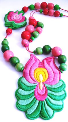 hungarian embroidered folk necklace