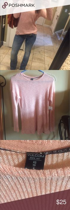 """Volcom semi sheer long sleeve top💕 This amazing top is so versatile when pairing it with a bottom.  The extremely soft and stretch material feels like pajamas! It it pretty thin so you can layer it or wear it alone! Pics show it worn """" alone""""! Beautiful color for spring, and goes right into fall... a versatile pick! 💕tag says xs but I'm listing as a small, runs a little big;) depends on the look you want! Volcom Tops Tees - Long Sleeve"""