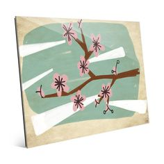 """Click Wall Art Cherry Blossoms Green Painting Print on Plaque Size: 20"""" H x 24"""" W x 1"""" D"""