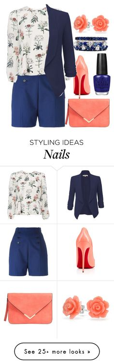"""Blue Work Coral"" by egordon2 on Polyvore featuring Carven, Christian Louboutin, LE3NO, Bling Jewelry, OPI and FerrariFirenze"