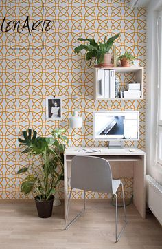 Circles Wallpaper - Orange Circle Pattern - Removable Wallpaper - Reusable - Peel and Stick - Geometric Pattern - Wall Decor - Decal - 33 Workspace Inspiration, Interior Design Inspiration, Design Ideas, Desk Inspo, Design Projects, Small Home Office Desk, Small Workspace, Desk Space, Study Space