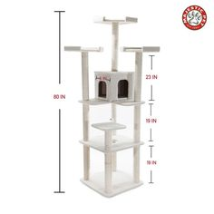 "80"" Bungalow Cat Tree Condo Scratching Post"