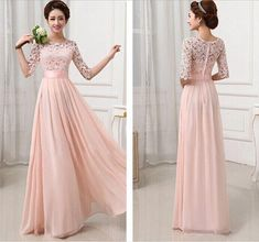 Jewel Sheer Neck Straps A-Line Half Sleeve Lace Chiffon Prom Dresses