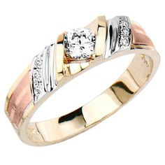 14k Tri Color Gold Round Top Quality Shines Cz Cubic Zirconia Wedding Band Ring For