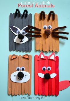 Popsicle stick animals mess-free fun for kids - Craftionary Make. - Popsicle stick animals mess-free fun for kids – Craftionary Make popsicle stick a - Lolly Stick Craft, Ice Cream Stick Craft, Popsicle Stick Art, Popsicle Stick Crafts For Kids, Craft Stick Crafts, Craft Ideas, Easy Crafts For Kids, Toddler Crafts, Creative Crafts