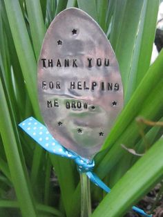 Ready to ship~ Thank you for helping me grow~ Teacher Appreciation Garden Marker~ Hand Stamped LARGE spoon on Etsy, $13.00