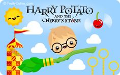 Harry Potato and the Cherry's Stone - Cute jokes with Kawaii Fruit and Vegetable cartoons Vegetable Cartoon, Nerd Show, Kawaii Fruit, Hp Book, Kawaii Potato, Cute Jokes, Find A Book, Hogwarts Letter, Cute Fruit