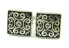 Curved Metallic Floral Design Cufflinks
