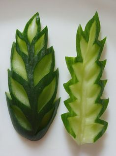 Carved cucumber leaves but would look good in polymer clay!
