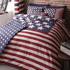 USA New York Stars & Stripes Duvet / Quilt or Cushion or Curtains or Throw #CatherineLansfield #Modern