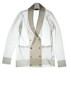 ELIE blanc. Double-breast shawl collar cardigan. Egyptian Mako Cotton - Crepe Artic.   ça va de soi   knitwear   crepe artic   summer cotton   #cavadesoi #summercotton #knitwear #style #fashion #white