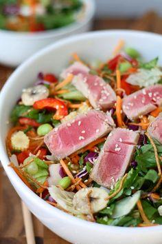 Chopped Ahi Tuna Salad with Seasme Ginger Vinaigrette
