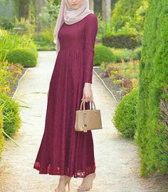 beautiful dress with hijab and leather bag and high heels sandal <3