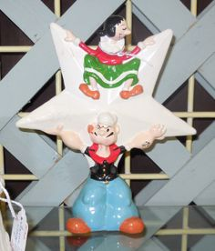 """(Castor Oyl: You there, are you a sailor?) """"Ja' think I'm a cowboy?"""" - Popeye's first line in the comic strip, therefore his first line.    This wonderful vintage Christmas Tree topper is for sale at Antique Land booth No. 832 inside the Benbrook Antique Mall - Benbrook Texas"""