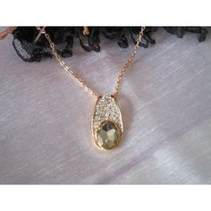 Cristal Plaqué Or Rose Pink Apple Shaped Opale Goutte Collier Costume Jewelry
