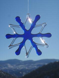 Fused Glass Snowflake Ornament and Suncatcher Cobalt Blue