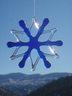 Fused Glass Snowflake Ornament and Suncatcher Cobalt Blue