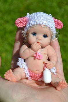 "Original ART Ooak Baby Doll Girl 3"" June BY Yulia Shaver  "