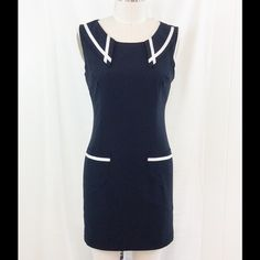 "💙HP Polished and Preppy💙 Black Dress Med Super sweet dress with white trim on the collar and pockets, darts for a great fit, center back zipper and fully lined. The length from the shoulder to the hem is 32"", new with tags, size medium. Sumile Dresses"