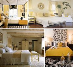 love the black white panels behind the yellow bed