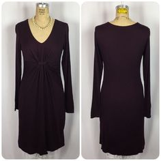 Ann Taylor Deep Purple Gathered Ruched V-neck Jersey Knit Long Sleeve Dress     eBay