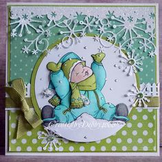 Love that snow border from Memory Box.  Stamp is a Slapstick stamp from Penny Black with Mo Manning as the artist.